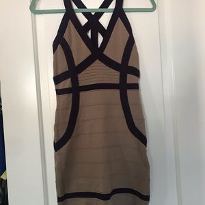 Formal, fitted dress - tan and dark purple